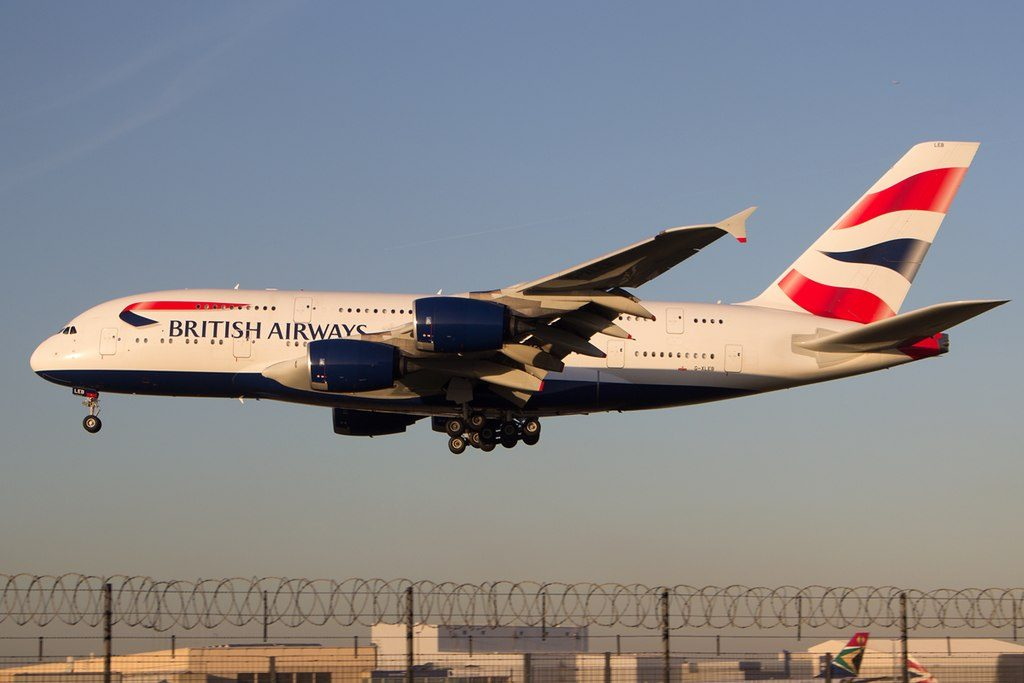 G XLEB Airbus A380 800 of British Airways landing at London Heathrow Airport