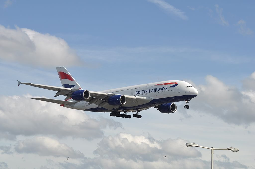 G XLED Airbus A380 800 of British Airways landing at London Heathrow Airport