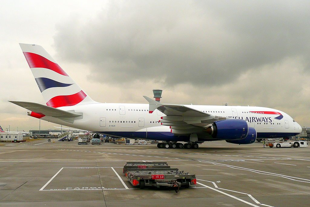 G XLEI Airbus A380 BA on the centre line of the taxiway having just pushed back off std 563 at London Heathrow Airport