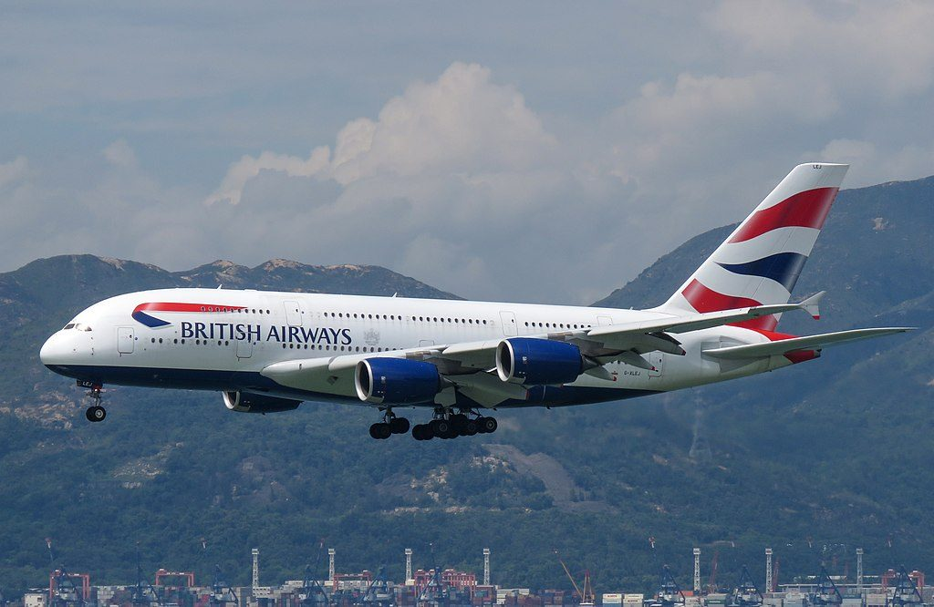 G XLEJ Airbus A380 800 of British Airways at Hong Kong International Airport