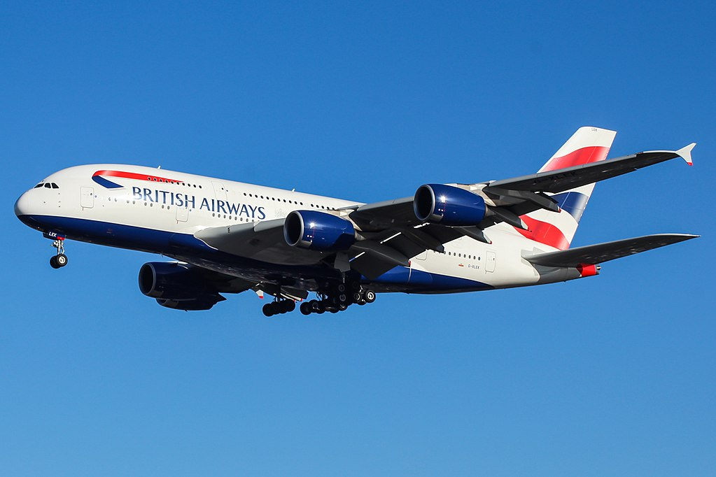 G XLEK Airbus A380 800 of British Airways final approach at London Heathrow Airport