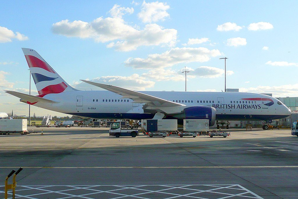 G ZBJI Boeing 787 8 Dreamliner of British Airways parked at London Heathrow Airport