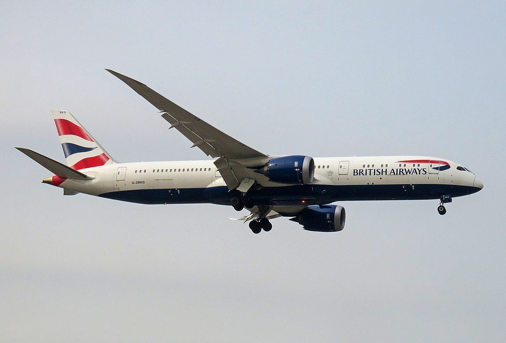 G ZBKG Boeing 787 9 Dreamliner of British Airways on final at Beijing Capital International Airport