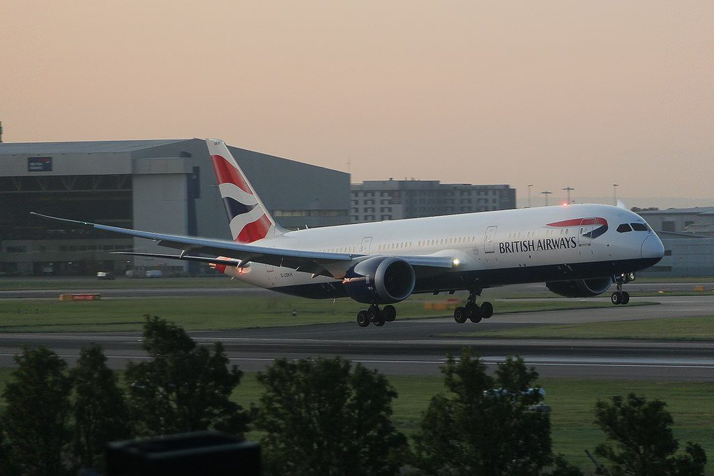 G ZBKH Boeing 787 9 Dreamliner of British Airways landing at London Heathrow Airport