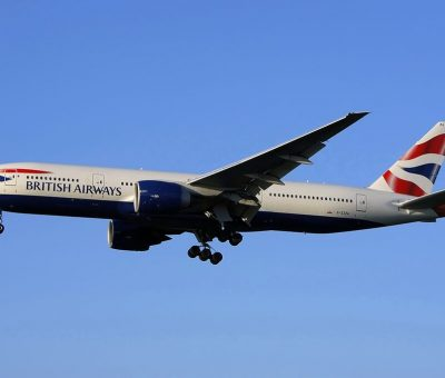 G ZZZA Boeing 777 200 of British Airways on final approach at London Heathrow Airport