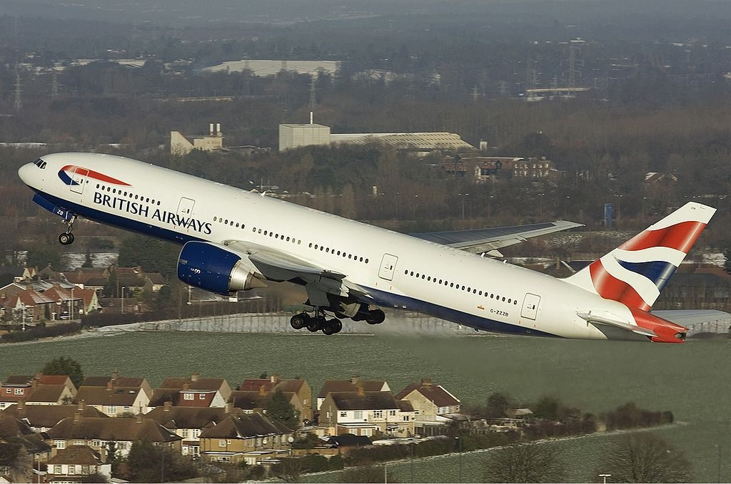 G ZZZB British Airways Boeing 777 200 departing at London Heathrow Airport