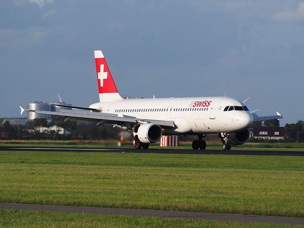 HB IJQ Swiss Airbus A320 214 Locarno landing at Amsterdam Schiphol