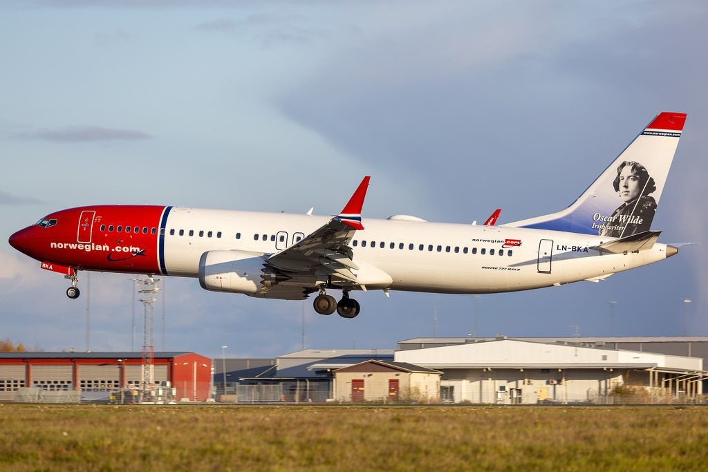 LN BKA Boeing 737 8 MAX Oscar Wilde Norwegian Air Shuttle at Arlanda Airport
