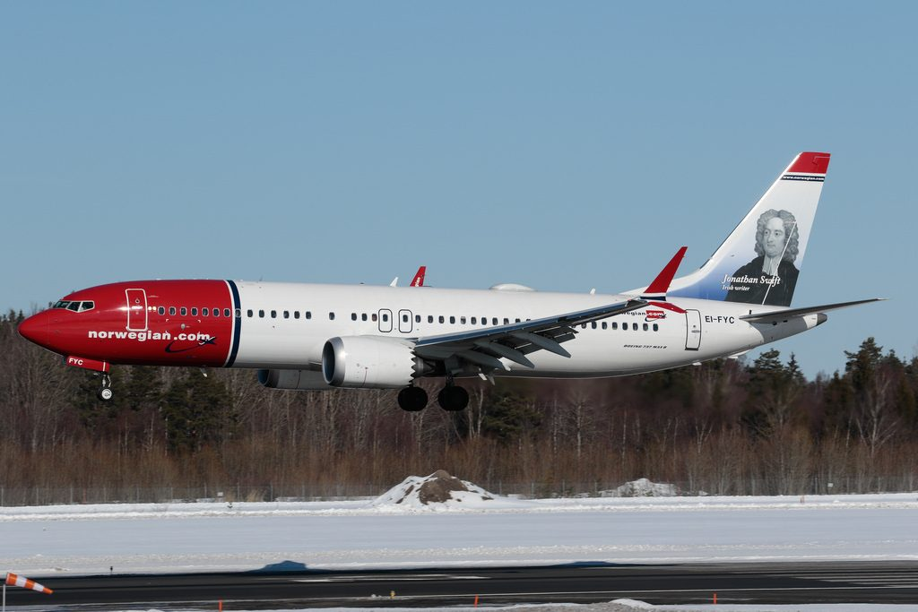 Norwegian Air International Boeing 737 8 MAX EI FYC Jonathan Swift at Stockholm Arlanda Airport