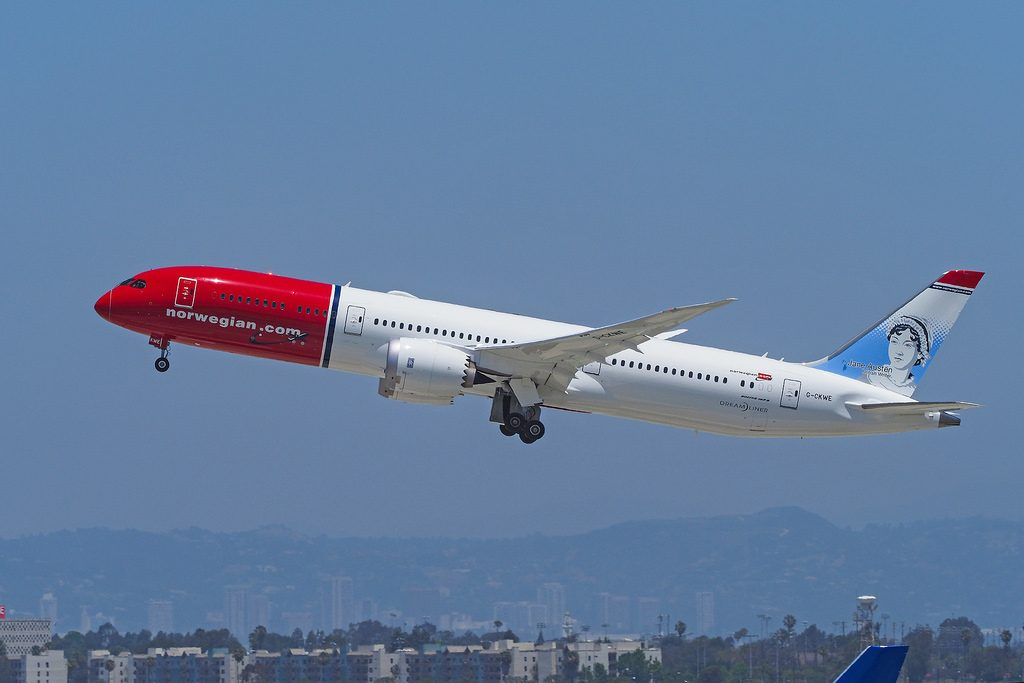 Norwegian Air UK Boeing 787 9 dreamliner G CKWE Jane Austen British Writer livery Take off 25R LAX