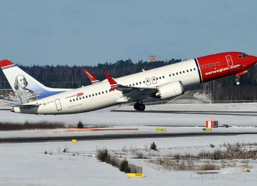 Norwegian Benjamin Franklin livery EI FYD Boeing 737 8 MAX at Helsinki Vantaa Airport