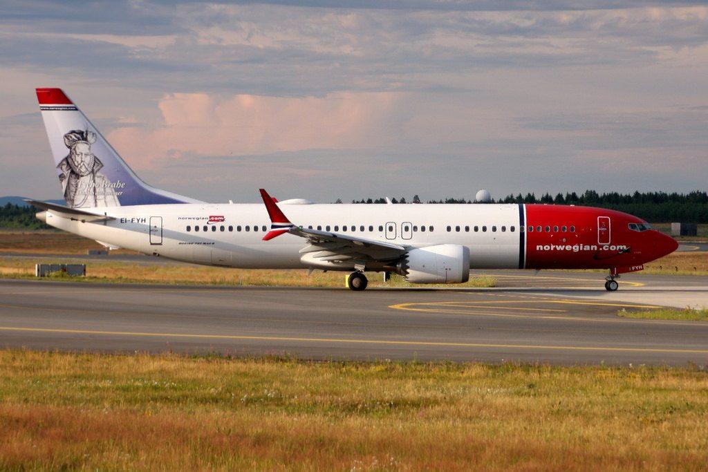 Norwegian Boeing 737 MAX 8 EI FYH Tycho Brahe at Oslo Airport