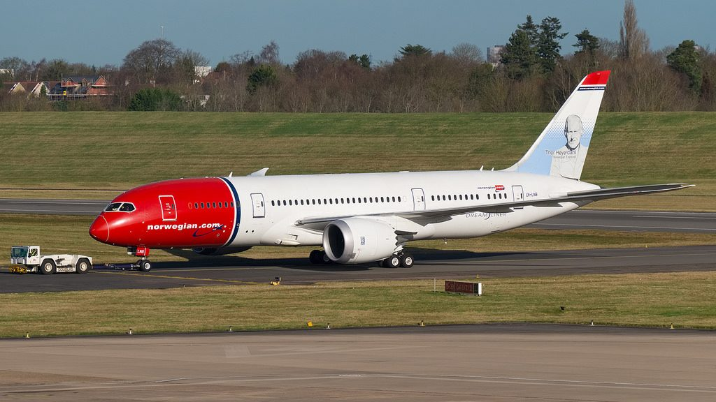 Norwegian Boeing 787 8 Dreamliner LN LNB Thor Heyerdahl at Birmingham International Airport