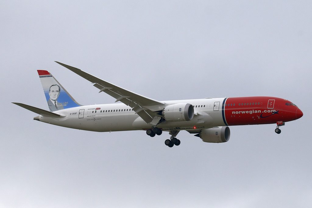 Norwegian Boeing 787 9 Dreamliner G CKOF Joan Miró at London Gatwick Airport