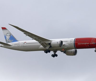 Norwegian Boeing 787 9 Dreamliner G CKOF Joan Miró at London Gatwick Airport