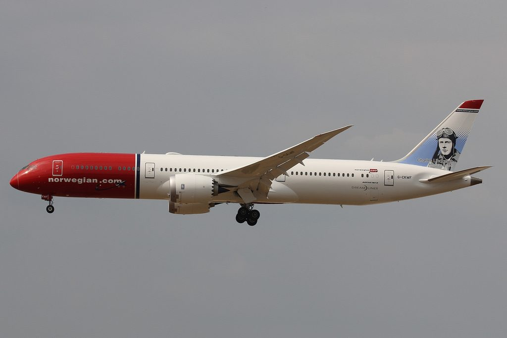 Norwegian Boeing 787 9 Dreamliner G CKWF Charles Lindbergh at London Gatwick Airport