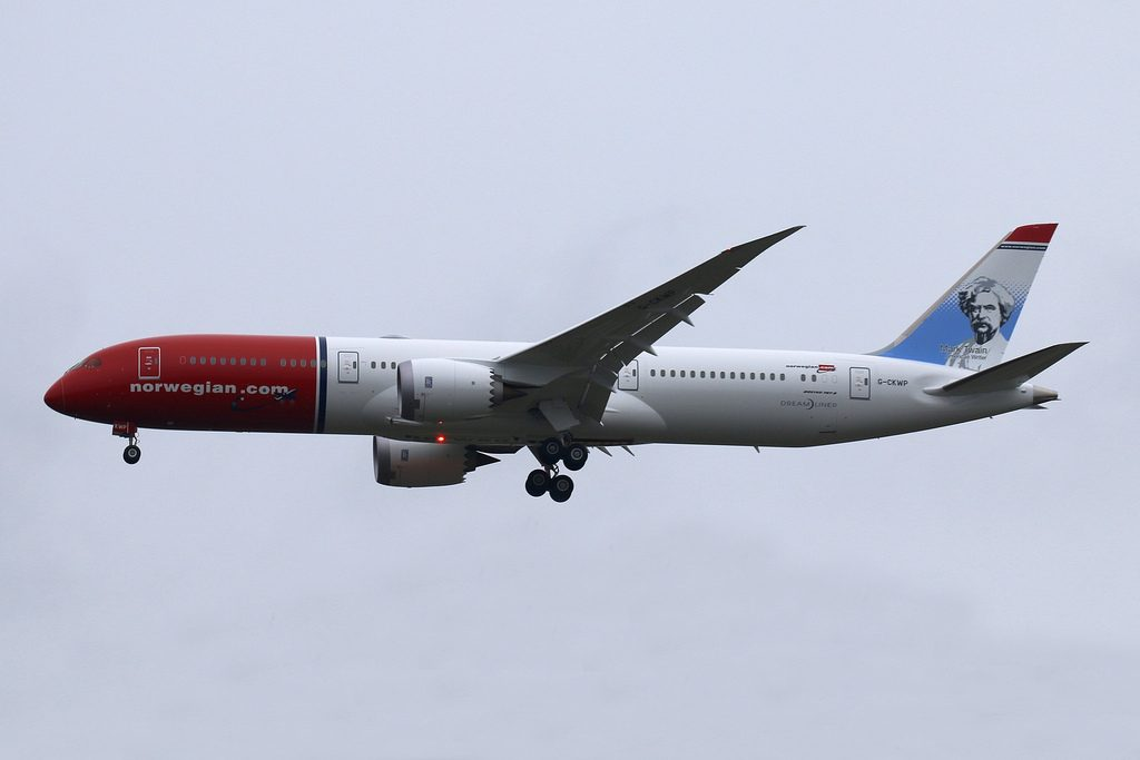 Norwegian Boeing 787 9 Dreamliner G CKWP Mark Twain at London Gatwick Airport