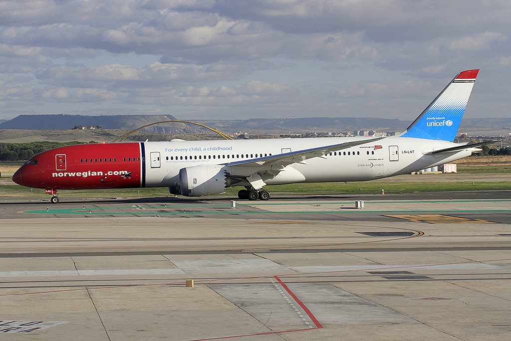 Norwegian Boeing 787 9 Dreamliner LN LNT UNICEF Livery at Madrid Barajas Airport