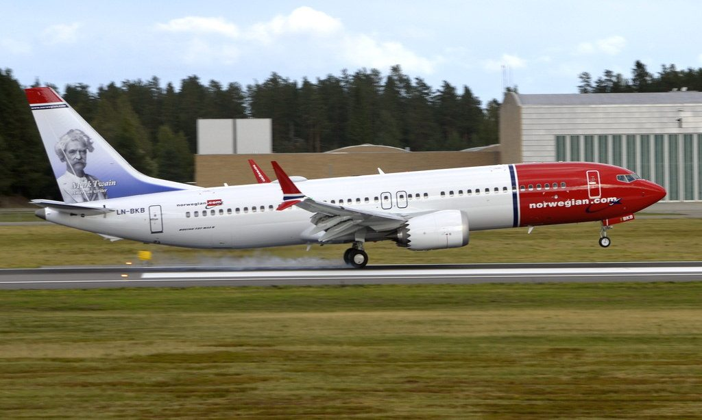 Norwegian LN BKB Boeing 737 MAX 8 Mark Twain at Oslo Airport