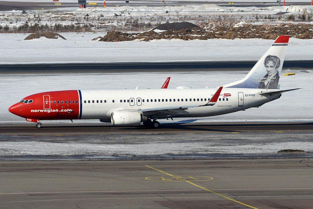 Norwegian Niels Henrik Abel livery EI FHW Boeing 737 8JPWL at Helsinki Vantaa Airport