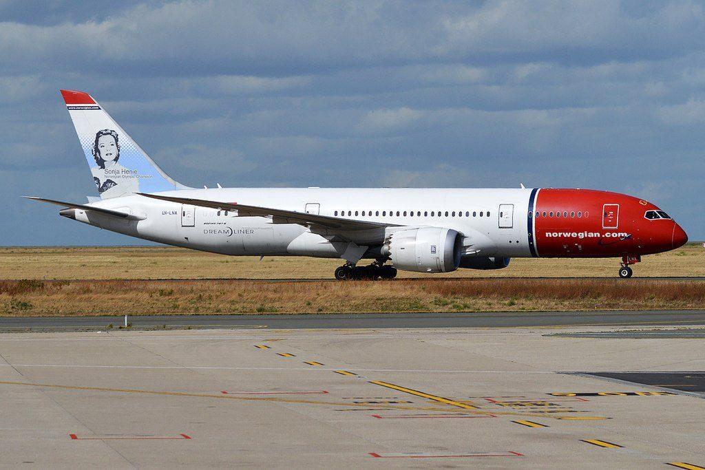 Norwegian Sonja Henie Livery LN LNA Boeing 787 8 Dreamliner at Paris Charles de Gaulle Airport