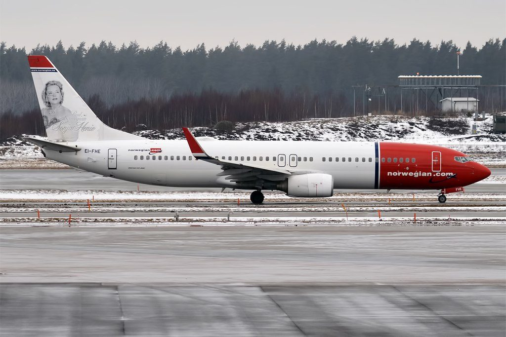 Norwegian Sonja Henie livery EI FHE Boeing 737 8Q8WL at Stockholm Arlanda Airport