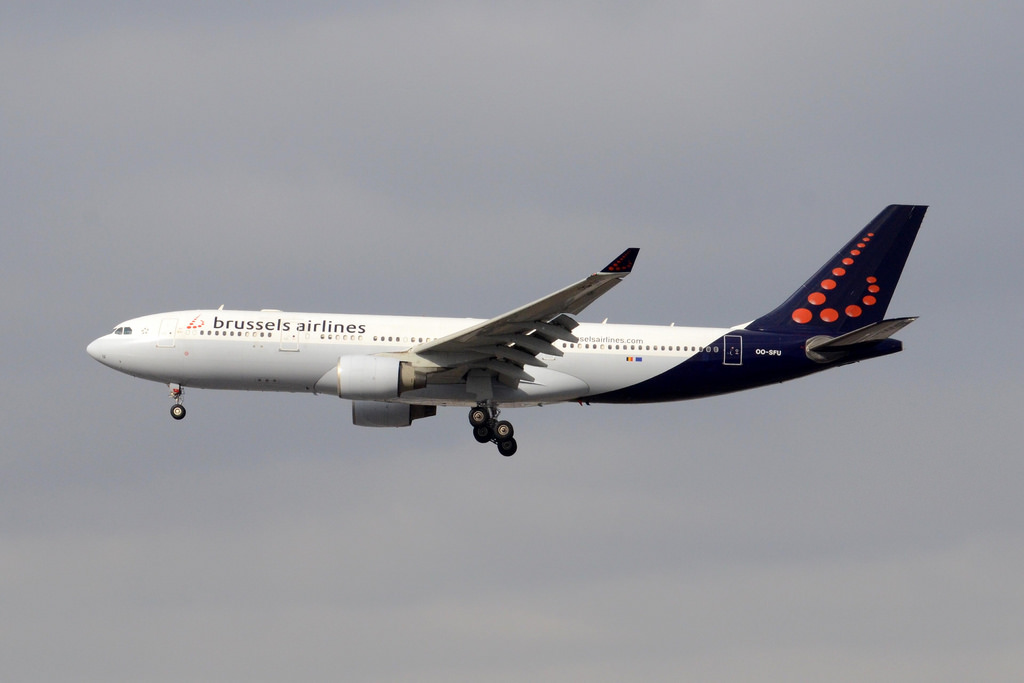 OO SFU Airbus A330 223 Brussels Airlines final approach at Toronto Pearson International Airport