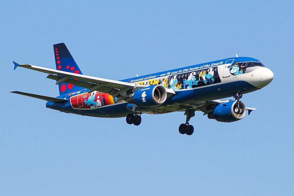 OO SND Airbus A320 214 Brussels Airlines Aerosmurfs Livery at London Heathrow Airport