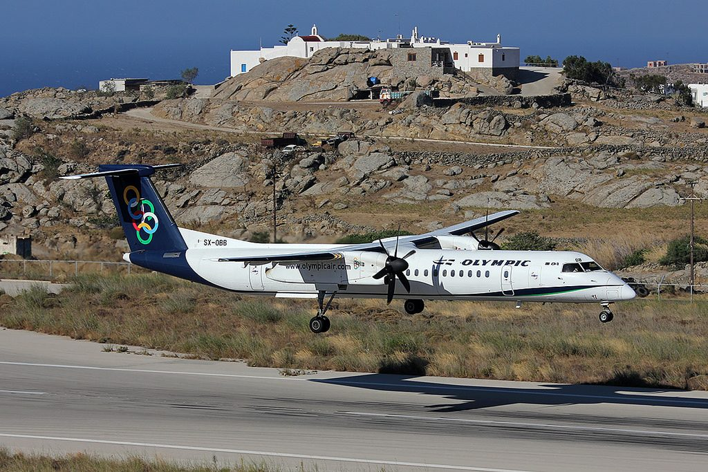 Olympic Air Bombardier Dash 8 Q400 SX OBB at Mykonos National Airport JMK