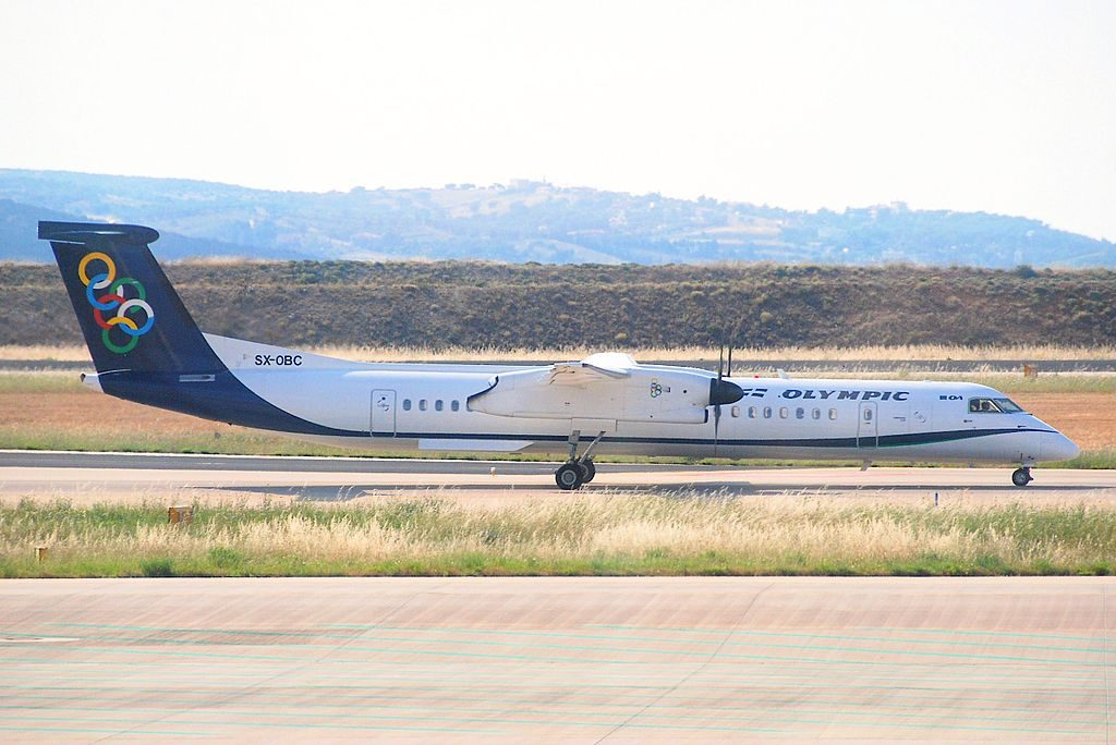 Olympic Air DHC 8 400 Dash 8 SX OBC at Athens International Airport