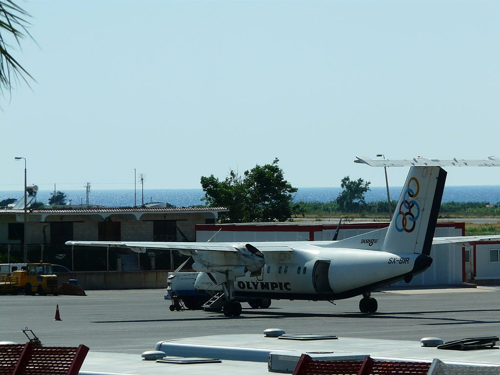 Olympic Air SX BIR Bombardier DHC 8 100 at Rhodes International Airport