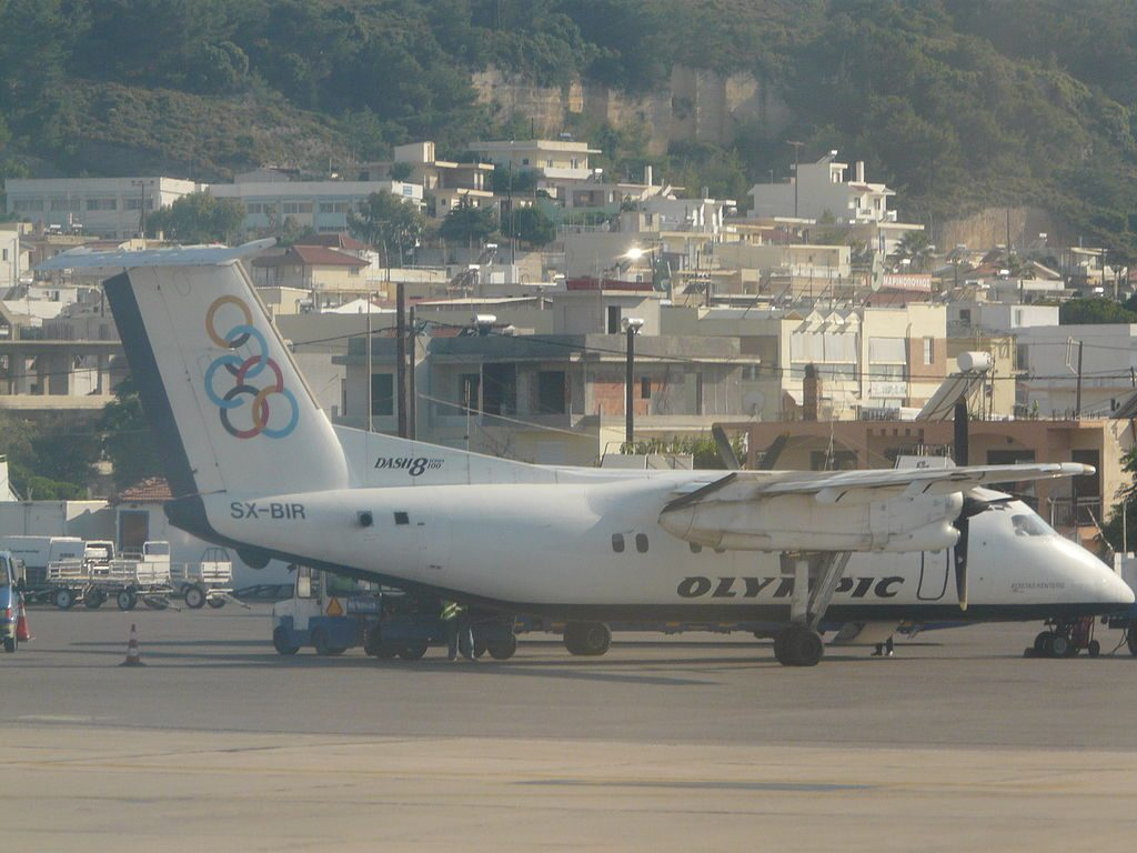 Olympic Air SX BIR De Havilland Canada DHC 8 100 at Rhodes International Airport