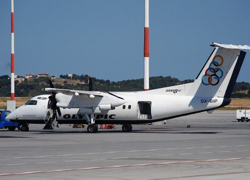 Olympic Airlines DHC 8 100 Dash 8 SX BIP at Athens International Airport