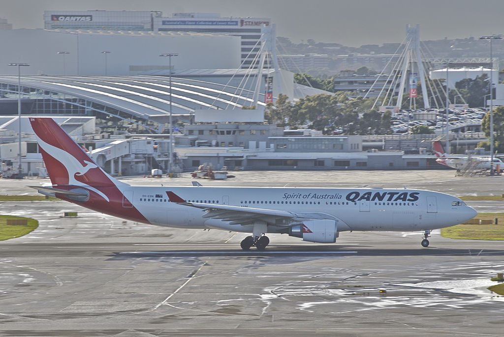 Qantas Airbus A330 200 VH EBN Clare Valley at Sydney Airport