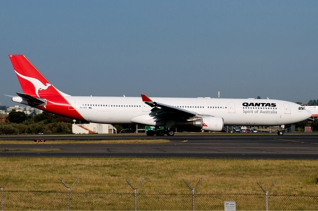 Qantas Airbus A330 300 VH QPD Port Macquarie at Sydney Airport