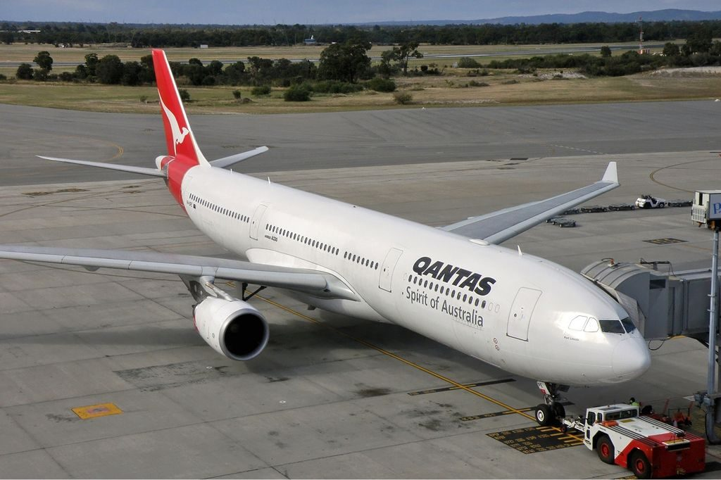 Qantas Airbus A330 300 VH QPE Port Lincoln at Perth Airport