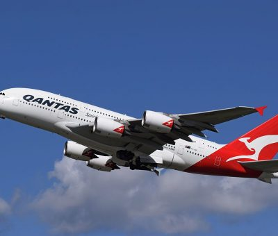 Qantas Airbus A380 800 VH OQE Lawrence Hargrave departs London Heathrow