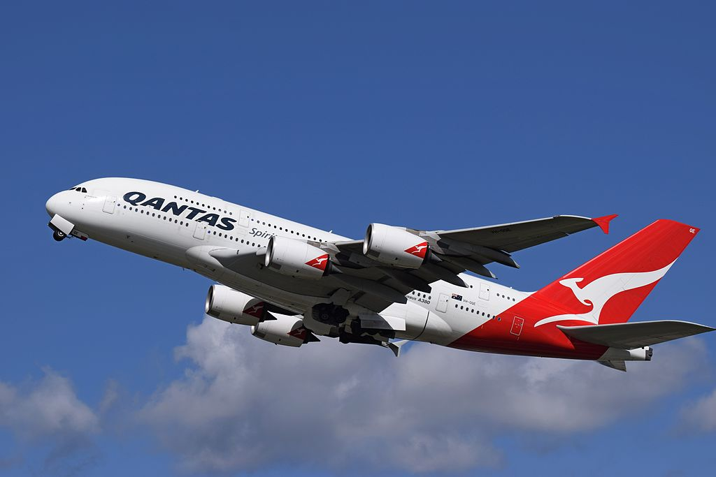 Qantas Airbus A380 800 VH OQE Lawrence Hargrave departs London Heathrow
