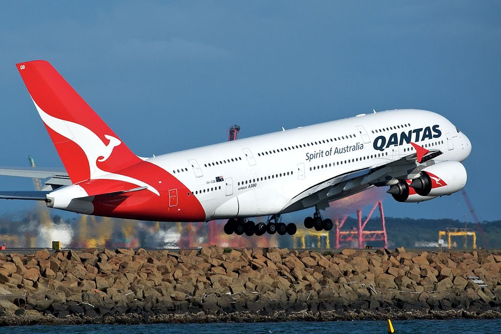 Qantas Airbus A380 842 VH OQB Hudson Fysh departing Sydney Airport