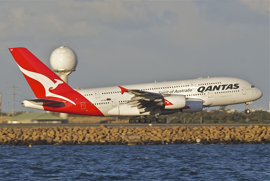 Qantas Airbus A380 842 VH OQH Reginald Ansett at Sydney Airport