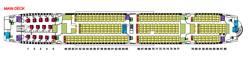 Qantas Aircraft Seat Map and Seating Chart A380 800 Main Deck