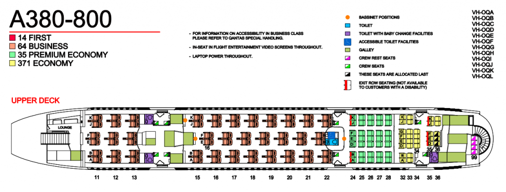 Qantas Aircraft Seat Map and Seating Chart A380 800 Upper Deck