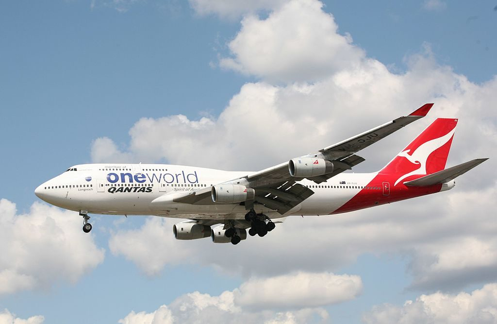 Qantas Boeing 747 438 VH OJU Lord Howe Island Oneworld livery at London Heathrow Airport