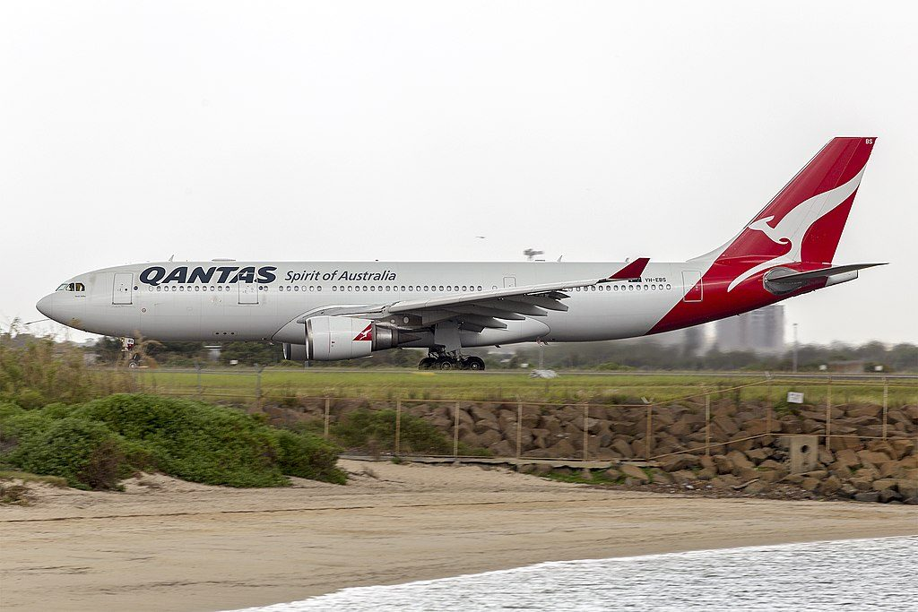 Qantas VH EBS Airbus A330 202 Swan Valley departing Sydney Airport