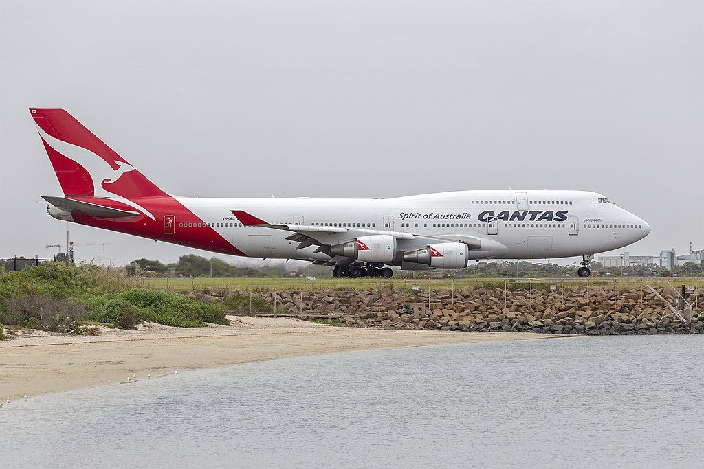 Qantas VH OEG Boeing 747 438ER Parkes taxiing at Sydney Airport