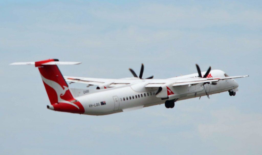 QantasLink Sunstate Airlines Bombardier Dash 8 Q402 VH LQG Town of Exmouth at Melbourne Tullamarine