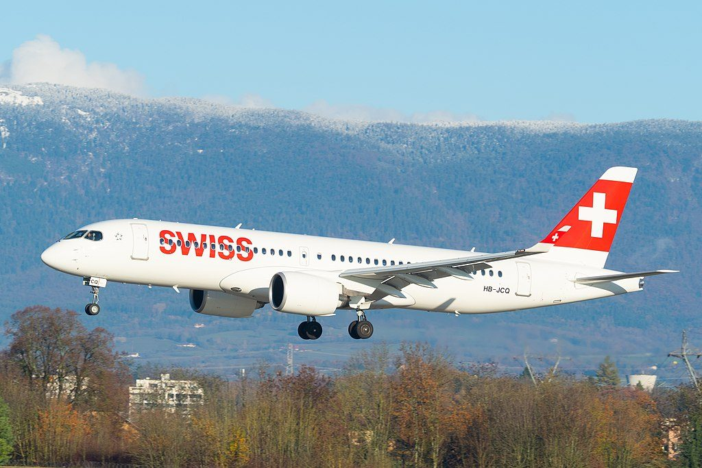 SWISS Airbus A220 300 HB JCQ at Geneva International Airport