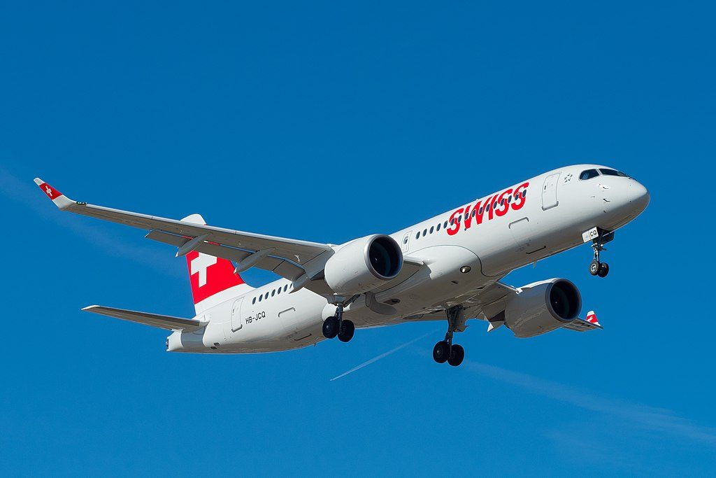 SWISS Airbus A220 300 HB JCQ on final at Geneva International Airport