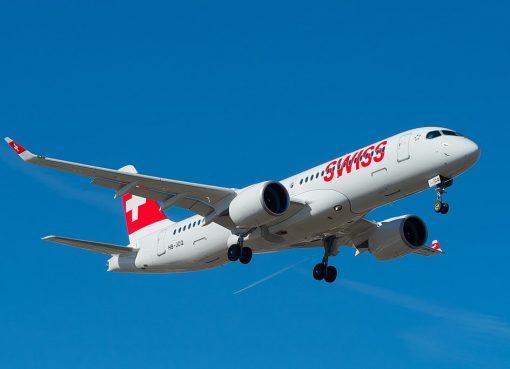 SWISS Airbus A220 300 HB JCQ on final at Geneva International Airport