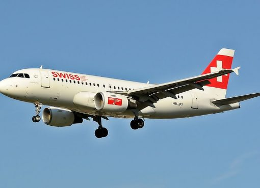 SWISS Airbus A319 112 HB IPT landing at London Heathrow airport